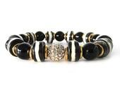 Black Onyx and Bone Women's Statement Bracelet - Statement Bracelet - Women's Jewelry - Bracelets for Women - Black White Bracelet - W9625