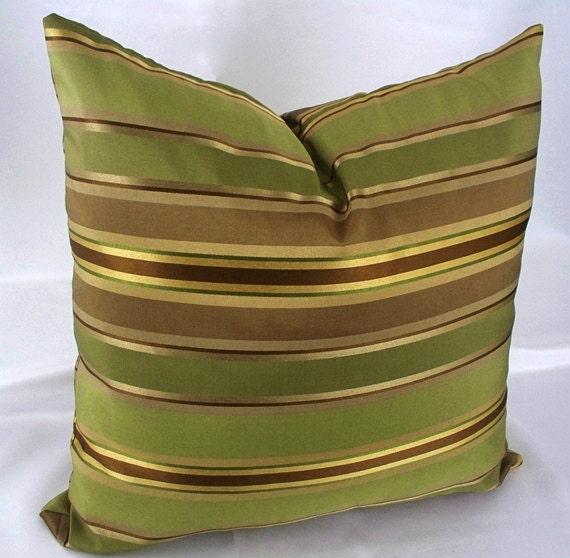 Gold Stripe Decorative Pillow : Gold stripe pillow decorative throw pillows green case brown