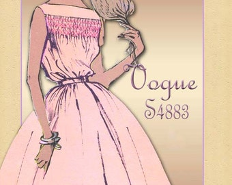 Vogue Special Design  S4883 1950s Dress Pattern One Piece Dress with Smocked Bodice Uncut Factory Folded