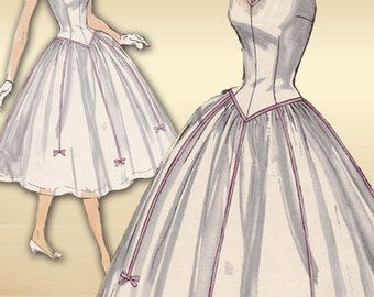 Simplicity 1518 1950s Dress Pattern Mid Century Prom or Party Dress Basque Waist Cap Sleeves Rockabilly Skirt Bust 32