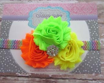 Neon Baby Headband, Infant Headband, Newborn Headband, Shabby Chic Headband Triple Rosettes Neon yellow, Lime, and Orange on Chevron Elastic