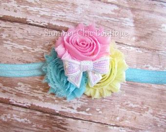 Baby Headband, Infant Headband, Newborn Headband, Easter Headband,  Shabby Chic Headband, Light Aqua, Light yellow, and Light Pink