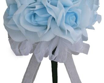 Light Blue Silk Rose Toss Bouquet 1 Dozen Silk Roses - Bridal Wedding Bouquet