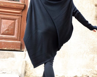 NEW Oversize ANGORA Black Loose Dress / Asymmetric Raglan Extra Long Sleeves Tunic / Fully Knit Top / Maxi Blouse Turtle neck Top A02201