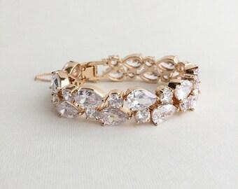 Cubic Zirconia Bracelet,SALE,Bridal bracelet,crystal bracelet,rose gold,gold, rhinestone bracelet, cz,tennis bracelet,wedding TEARDROPS GOLD