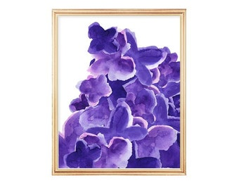 Purple Watercolor, Print from Original Painting, Purple Flower, Purple Abstract Art, Amethyst, Contemporary Art, Watercolor Painting
