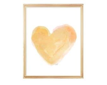 Yellow Nursery Decor, Gold Heart, Gold Nursery Art, Watercolor Print, Heart Art, Natural Decor, Gender Neutral, Cottage Chic, Gold Art