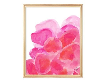 Pink Watercolor Flowers, Hot Pink Art, Pink Abstract Flower Painting, 8x10 Art Print, Hot Pink Decor, Hot Pink Art, Watercolor Painting