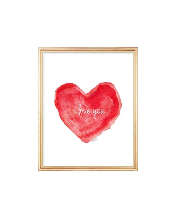 Red Heart Print 8x10 Watercolor Art Print I Love You Red