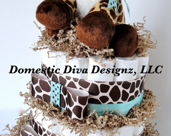 Diaper Cake - Giraffe Theme Blue & Brown Baby Boy Shower Diaper Cake Centerpiece Shower Decoration Gift