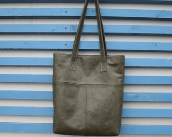 Leather tote bag olive green