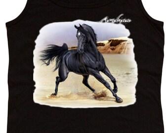 Ladies black tank top / Black Arabian Horse