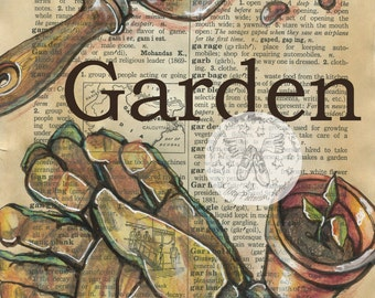 PRINT:  Garden Mixed Media Drawing on Antique Dictionary