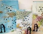 15 Map Luminaries, Travel Wedding Decor, Travel Wedding, Bon Voyage, Map Luminaries, World Map, Travel Luminary Bags, Destination wedding