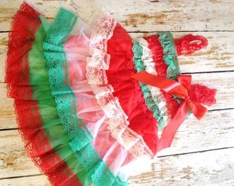 SALE - Christmas Dress, Baby Girl Dress, Lace Ruffle Dress, Christmas Petti Lace Dress