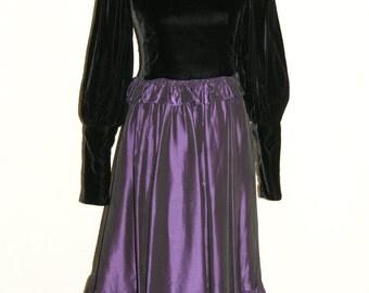 Vintage 1960s Formal Tea Length Dress Black Velvet Bodice And Eggplant Skirt