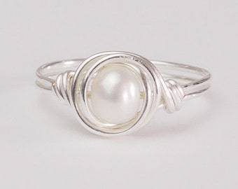 Pearl Ring, Freshwater Pearl Ring, Stacking Ring, Sterling Silver Ring, Gift Ideas, Silver Ring, Any Size, Gifts for Her
