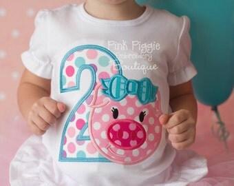 This Little Piggy Polka Dot Birthday Party Applique Shirt for Girls
