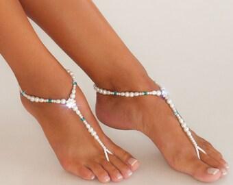 35% SALE Something blue Beaded barefoot sandals Bridal foot jewelry Pearl and Rhinestone Beach wedding Barefoot Sandals Swarovski Elements