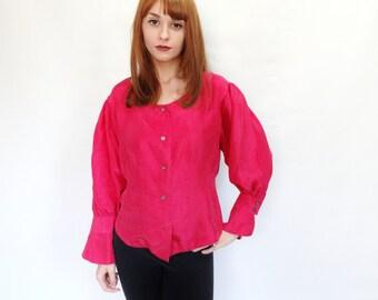 fuchsia pink puffed sleeve 80's retro vintage silk boho blouse - small - medium