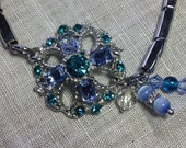 Repurposed Vintage Blue Earring Watchband Bracelet Something Old Something New Something Blue,Silver Too Blue Stones OOAK WishAnWearJewelry