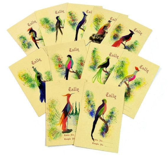 Feather Tally Cards, Birds, Made in Mexico, Vintage