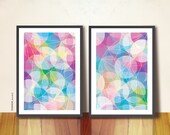 Dreamy Circles Duo prints. Geometric art prints, by TANGRAMartworks. Two A3 Abstract Posters, Double Wall Art Decor. Geometric art print