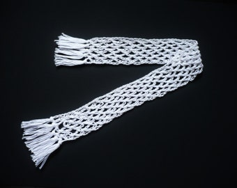 Bookmark: Extra Long Crocheted white pearl cotton lace book mark. Made in Hull, 2017 UK City of Culture