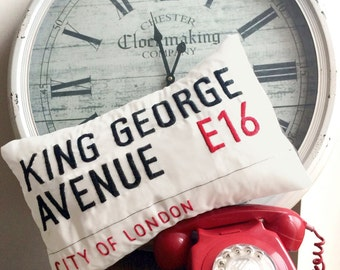 Hand Embroidered London Street Sign Cushion