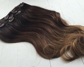"""Iced Chocolate Mocha and Caramel Ombre, Dark Brown Balayage Hair Extensions, Dark Ash Brown Ombre, Studio She, Sombre, Slow Fade, 22"""""""