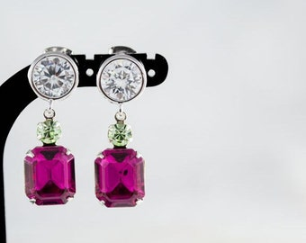 Crystal Earrings. Octagon Swarovski Crystals. Chrysolite, Fuchsia & Clear Crystal Drop Earrings. Summer Jewelry. Crystal Jewelry