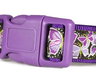 "Butterfly Dog Collar 1"" Purple Spring Dog Collar"