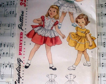 1950s Simplicity Child's One-Piece Dress Pattern - 4591- Cut Complete - Instructions Included