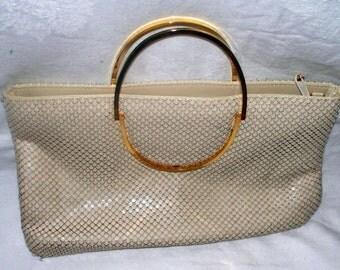 Vintage Nancy Scott Clutch - Purse - Handbag - Cream Mesh - Brass Handles - Vintage