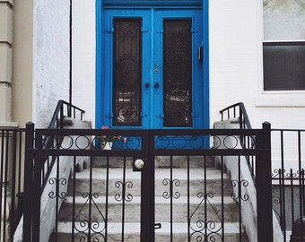 blue door of brooklyn - fine art photography, 4x6 5x7 8x10, brooklyn nyc new york city door architecture