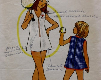 Girls Tennis Dress / Bloomers / Butterick 3649/ Vintage Sewing Pattern