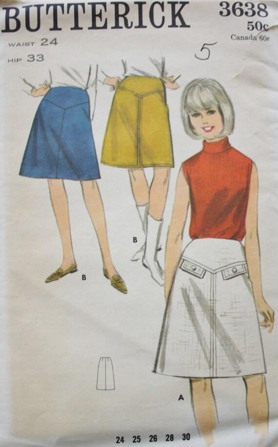 1960s Western Yoke A Line Skirt Sewing Pattern Butterick 3638