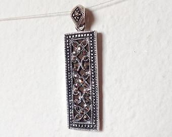Vintage Sterling Silver Marcasite Pendant, Signed, Rectangle