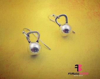 Kettlebell Earrings, Kettlebells, Fitness Earrings, Workout Earrings, Bodybuilder Jewelry, Weightlifting Jewelry, Stronger Every Day