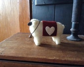 Needle felted Valentine sheep
