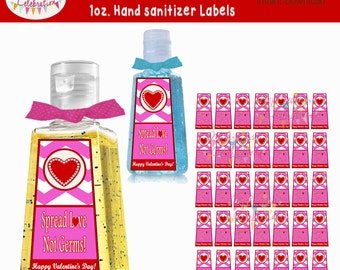 Hand sanitizer label etsy valentines day instant download 1 oz hand sanitizer label favors class gifts party pronofoot35fo Images