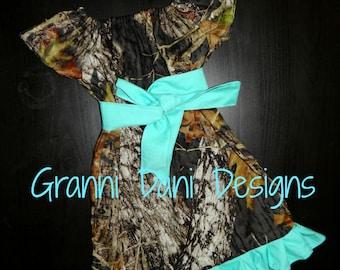 mossy oak camo short sleeve peasant dress baby toddler girl 6 9 12 18 24 months 2t 3t 4t 5t ruffle aqua blue