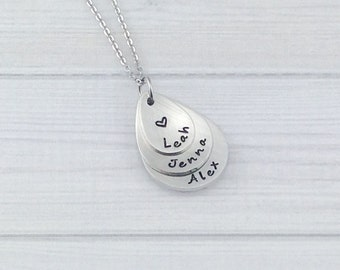 Triple Stack Hand stamped, personalized pewter keepsake necklace for Mommy or Grandma - tear drop shape - sterling silver alternative