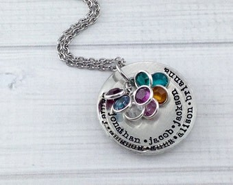 Stacked Pewter family birthstone necklace - sterling silver alternative