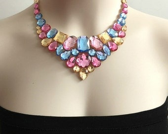 pink blue and light topaz rhinestone tulle bib necklace