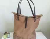 Tan Waxed Canvas Tote Bag with leather handles