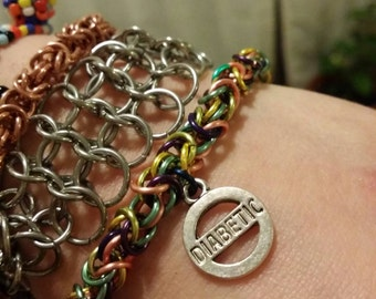Multicolored Copper Diabetic Chainmaille Bracelet