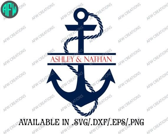 Digital Cut File Split Anchor Svg Dxf Eps By Afwifecreations