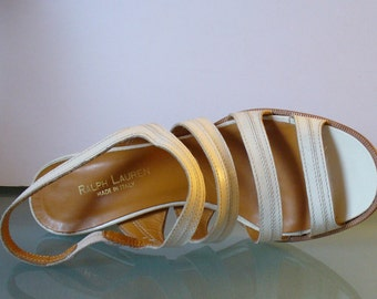 Vintage Made in Italy Ralph Lauren  Strappy Heels Size 6