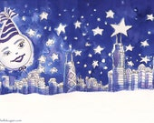 Moon Over Chicago Greeting Cards, By Michelle Kogan, Christmas Cards, Hanukkah Cards, New Years Cards,  5 x 7 Inches, Pen and Ink, Winter